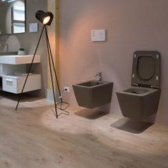 Dark gray contemporary bidet and wc wall hung