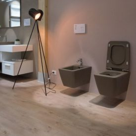 Dark gray contemporary bidet and wc wall hung