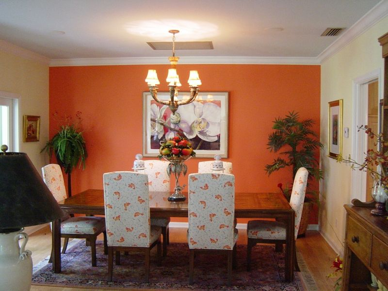 Using color in the feng shui dining room for Orange dining room design ideas