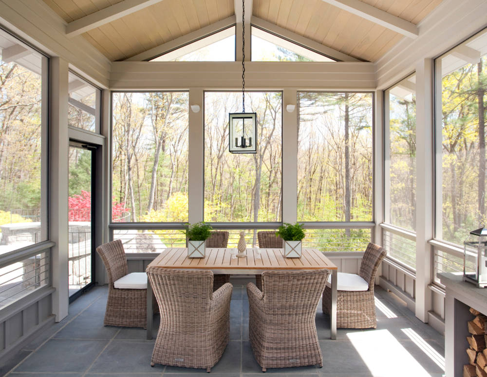 12 tips to rock your screened porch for Breezeway flooring ideas