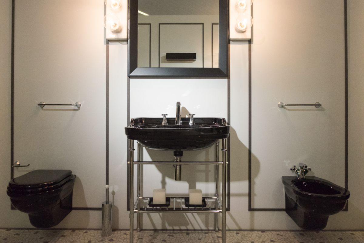 Modern bathroom vanity designs and the accessories that complement them for Black and chrome bathroom accessories