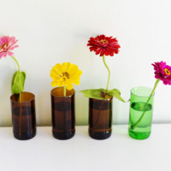 Flower vases from glass bottles