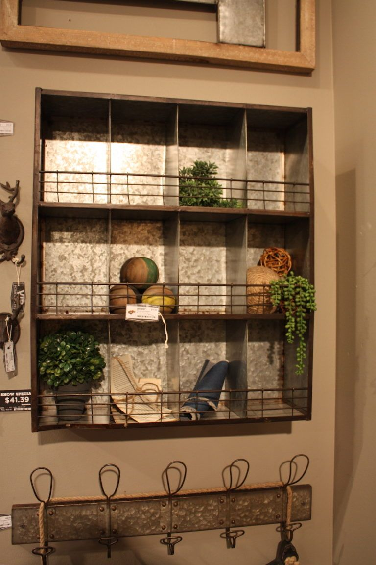 VIP Home & Garden wall shelves and coat racks are another way to add galvanized metal to decor.