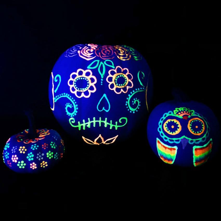 Glow in the Dark Painted Pumpkins