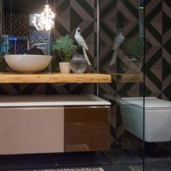 Hafro geromin bathroom vanity with wood shelf