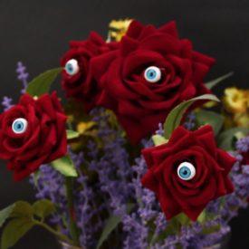 Frightening One Eyed Rose Arrangement. Modular Pink Vase From Adonde