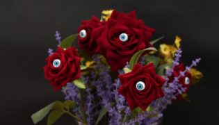 Frightening One-Eyed Rose Arrangement