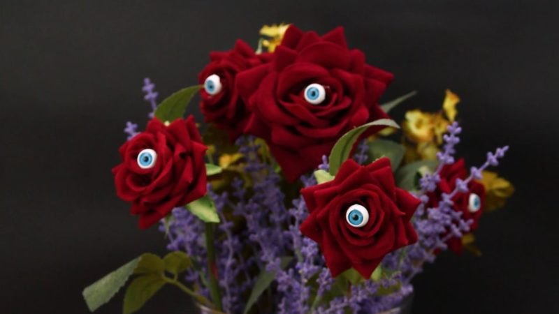 Frightening One-Eyed Rose Arrangement