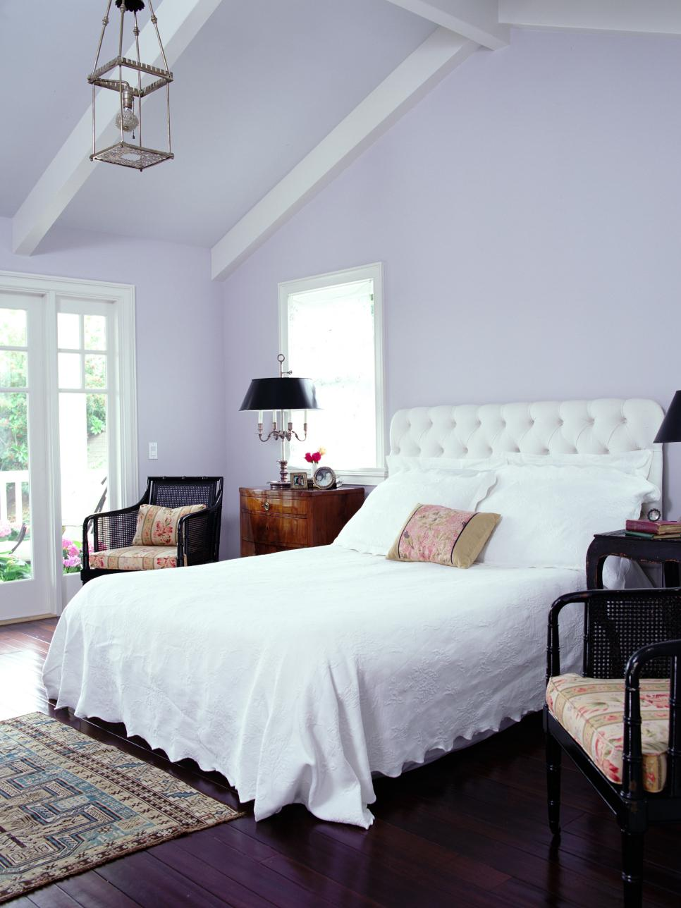 10 bedrooms to inspire you to go lavender 15782 | lavender bedroom painted pitched ceiling
