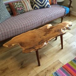 Mid century live edge coffee table design