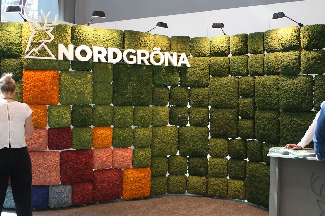 Preserved moss from Nordgrona can be used to create an entire maintenance-free wall of greenery.