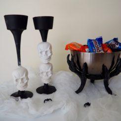 Plaster Skull Candlesticks