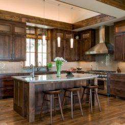 Rustic wood kitchen deep stained cabinets