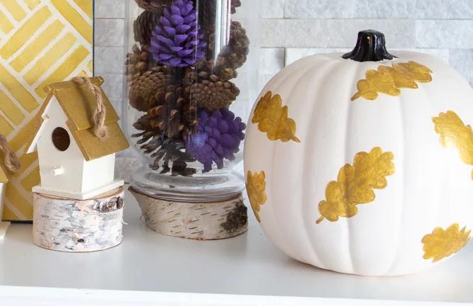 Simple Gold Leaf Painted Pumpkin
