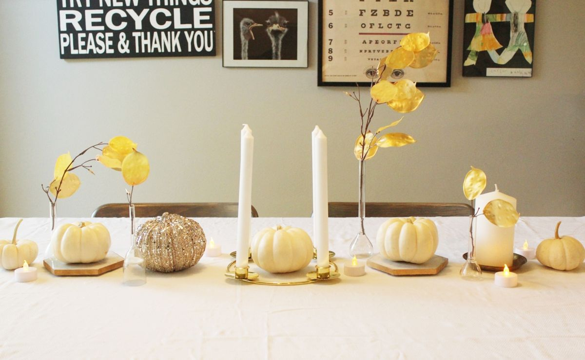 Simple White Thanksgiving Centerpiece with White Pumpkins