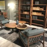 Sliced tired wood coffee tables and books storage