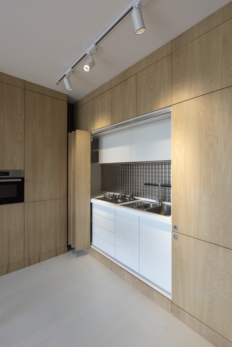 The kitchen and several other features can be completely hidden when not in use