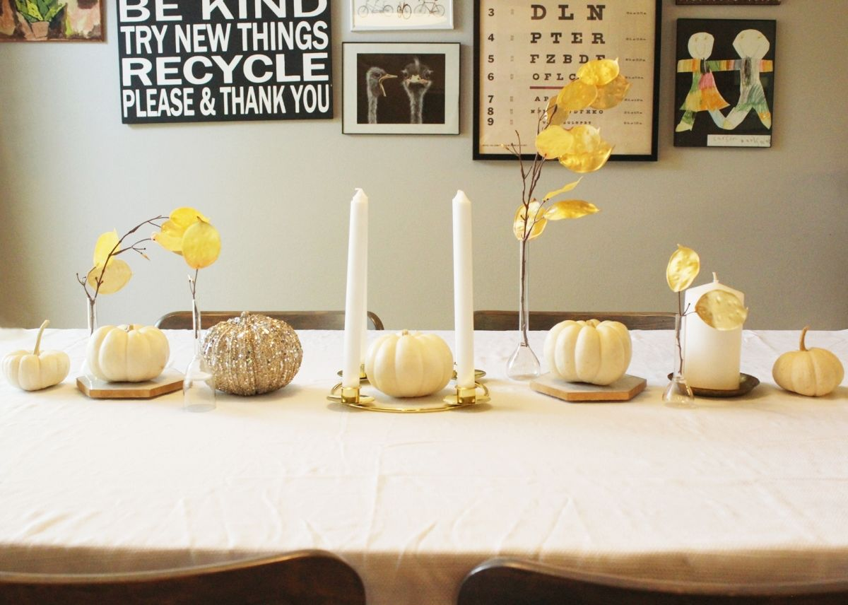 Symmetric White Thanksgiving Centerpiece - with candle