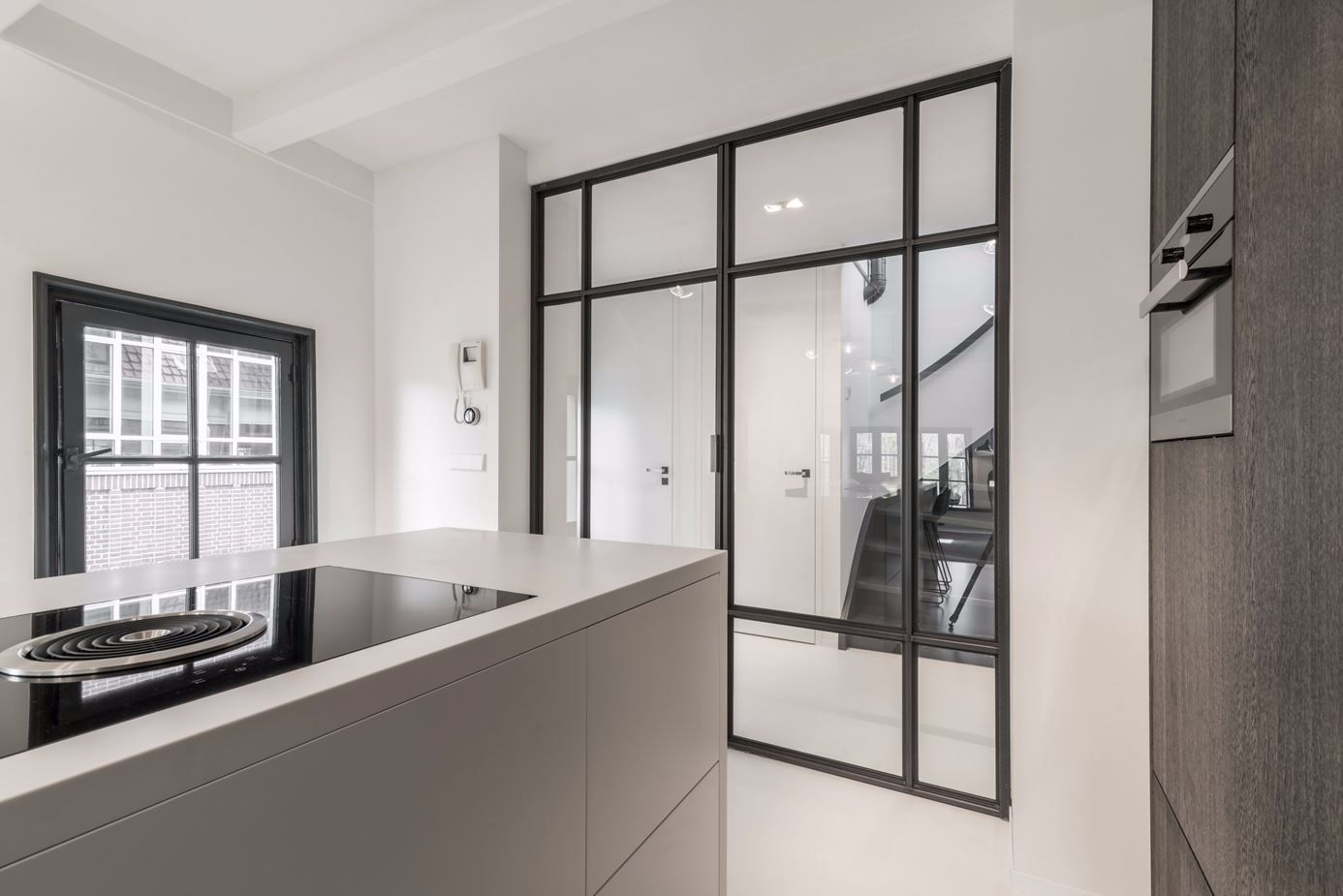The iron frames are a common element throughout the home.