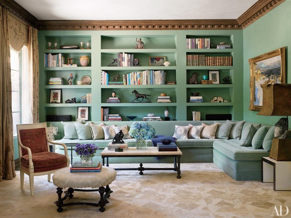 Traditional living room shelves sofa