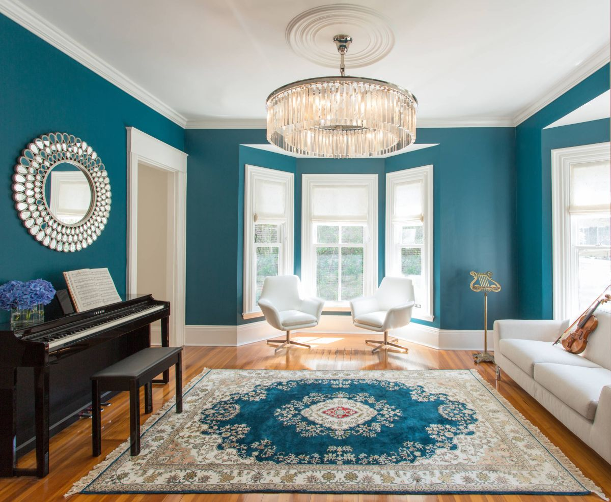 10 living rooms that boast a teal color for Room decoration images