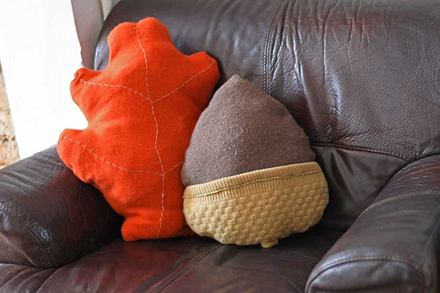 Upcycled DIY Acorn and Oak Leaf Pillows