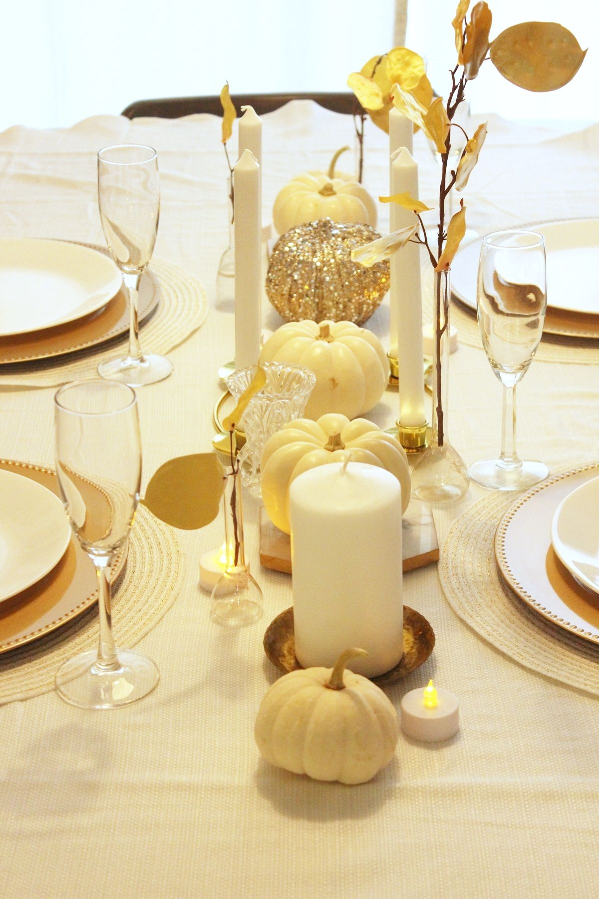 White Pumpkin Centerpieces-While the centerpiece can set the stage