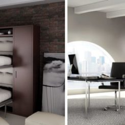 flap bunk beds - wall storage