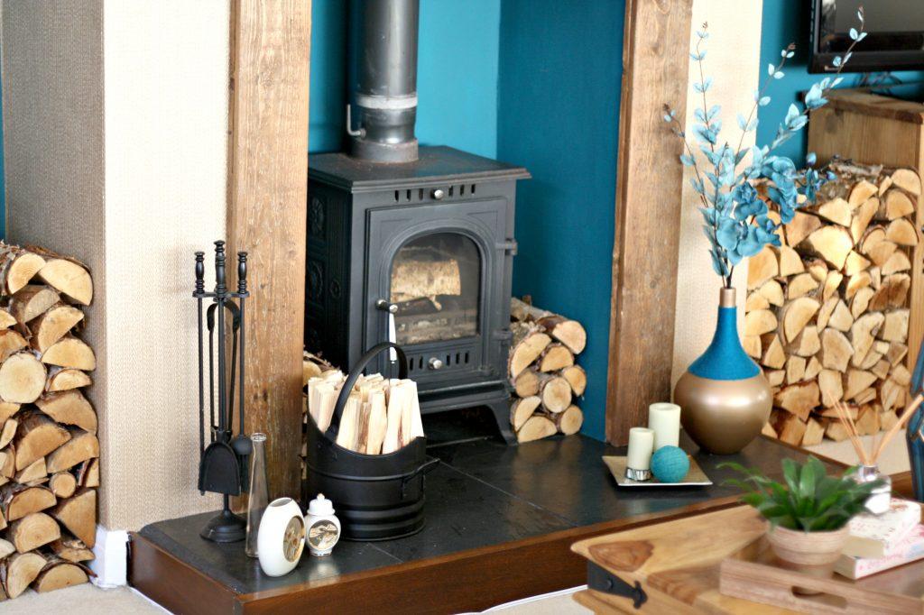 A blue-green fireplace