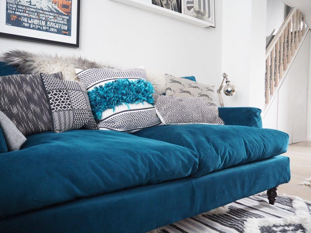 A Teal Sofa Makeover