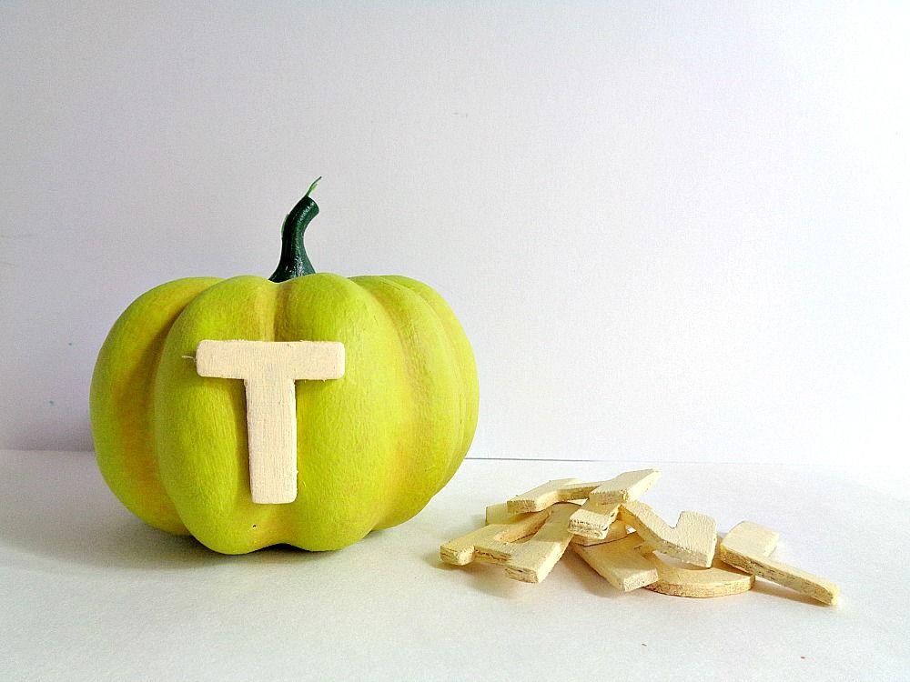 Bright Thankful Pumpkin Home Decor - apply each letter