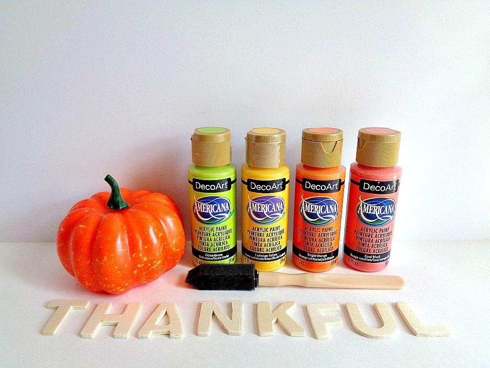 Bright Thankful Pumpkin Home Decor - materials