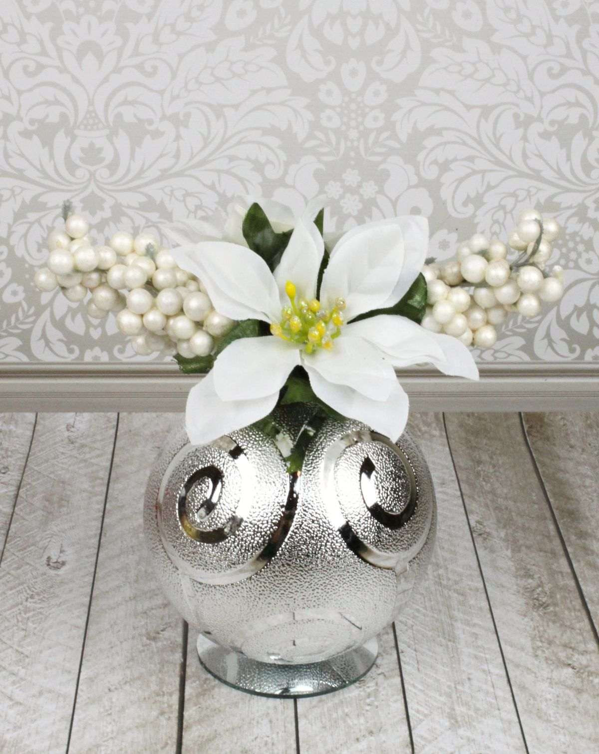 Christmas Ornament Floral Table Decor - silver decor