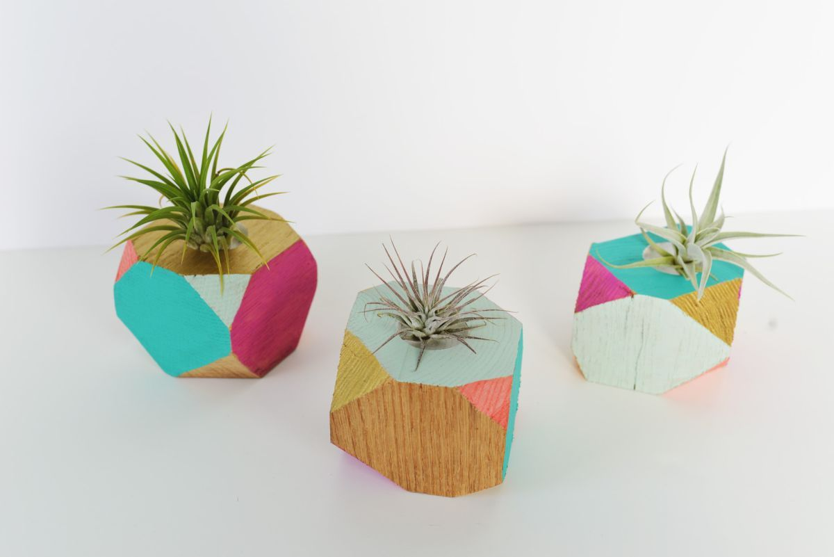 Colorful Wooden Geometric Planters