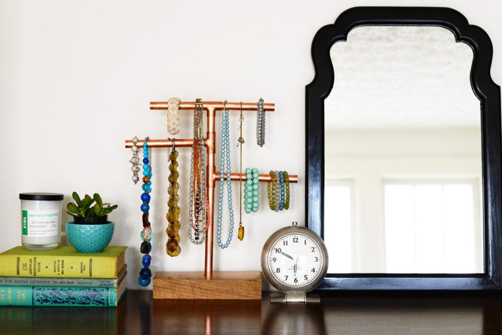 Copper Pipe Jewelry Stand
