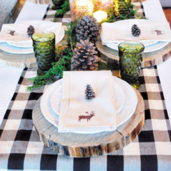 Country christmas table wood slice charger