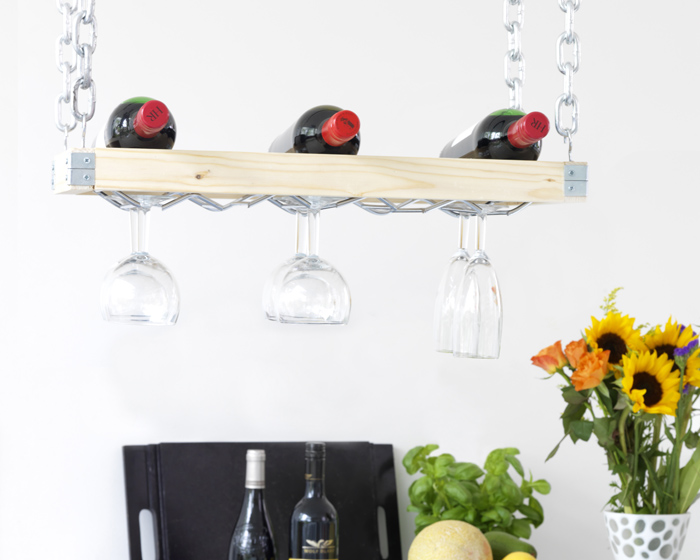 A wine rack that you can hang from the ceiling