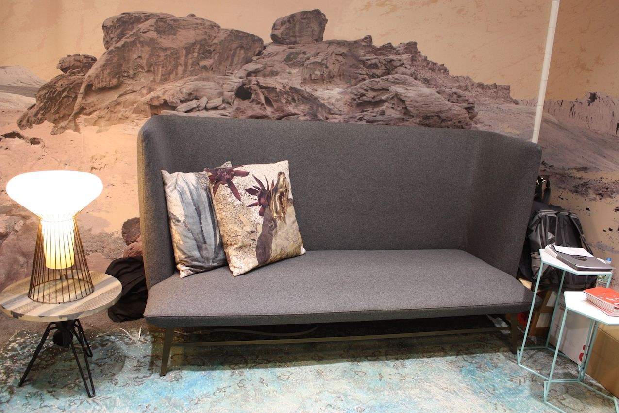 A variety of upholstery choices are available for the Gimme Shelter sofa.