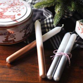 Dipe dyed metallic candles