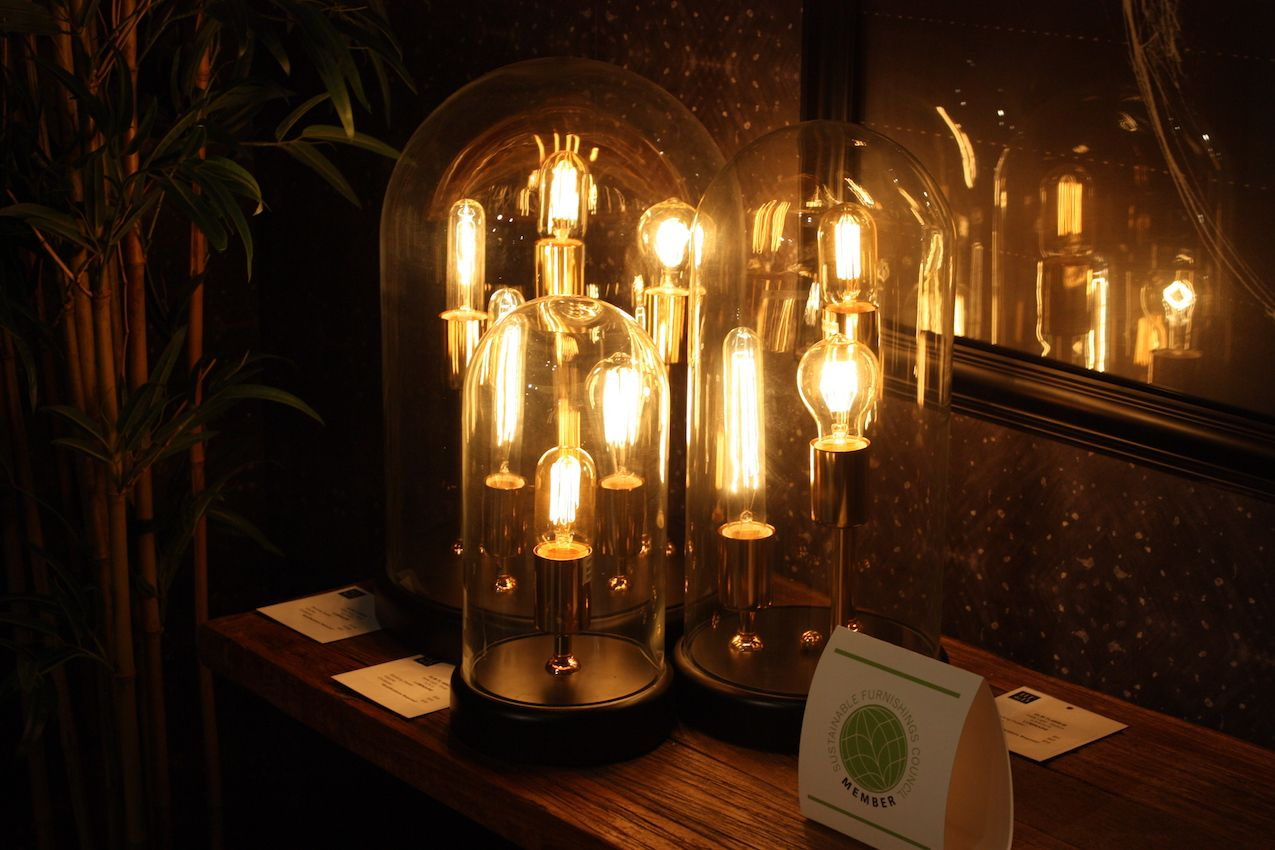 These stylish lamps provide warm mood lighting rather than bright task lighting.