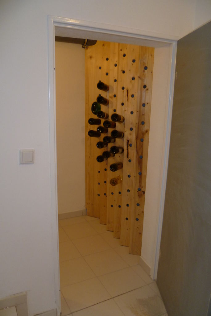 A wall turned into a wine rack