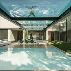 The upper pool is an unusual and stunning feature of the home.