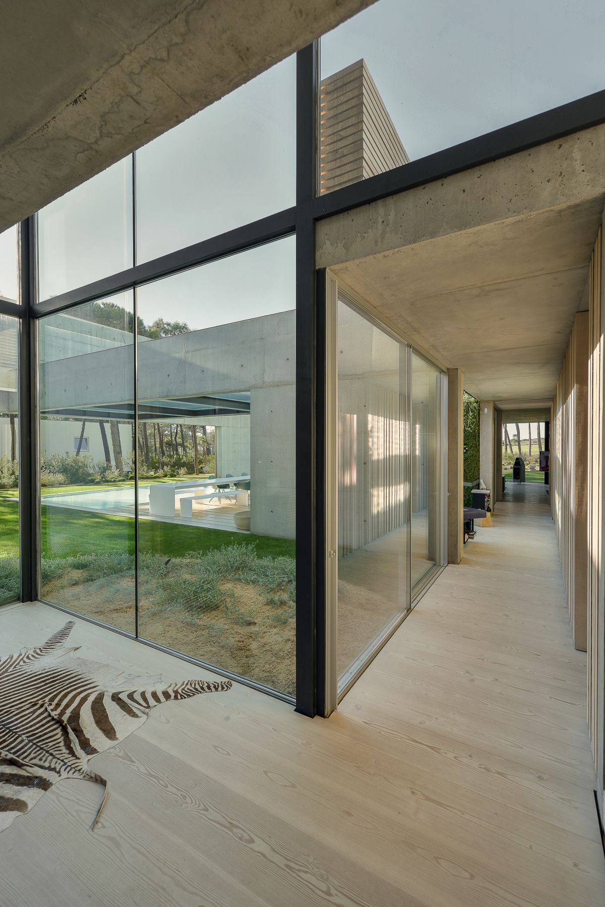 Glass walls make every part of the house seem expansive.