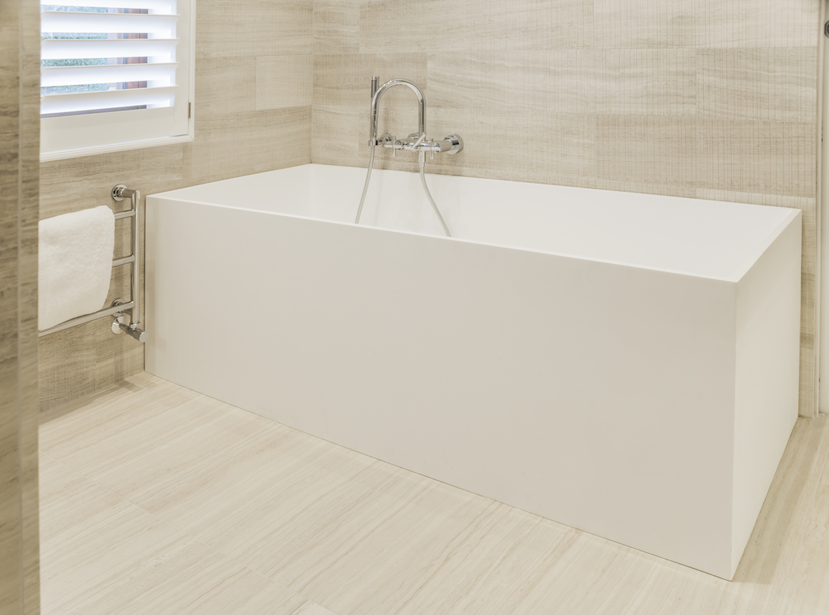 Everything has been redesigned and reimagined, including the bathroom tub which complements the contemporary style with its minimalist lines