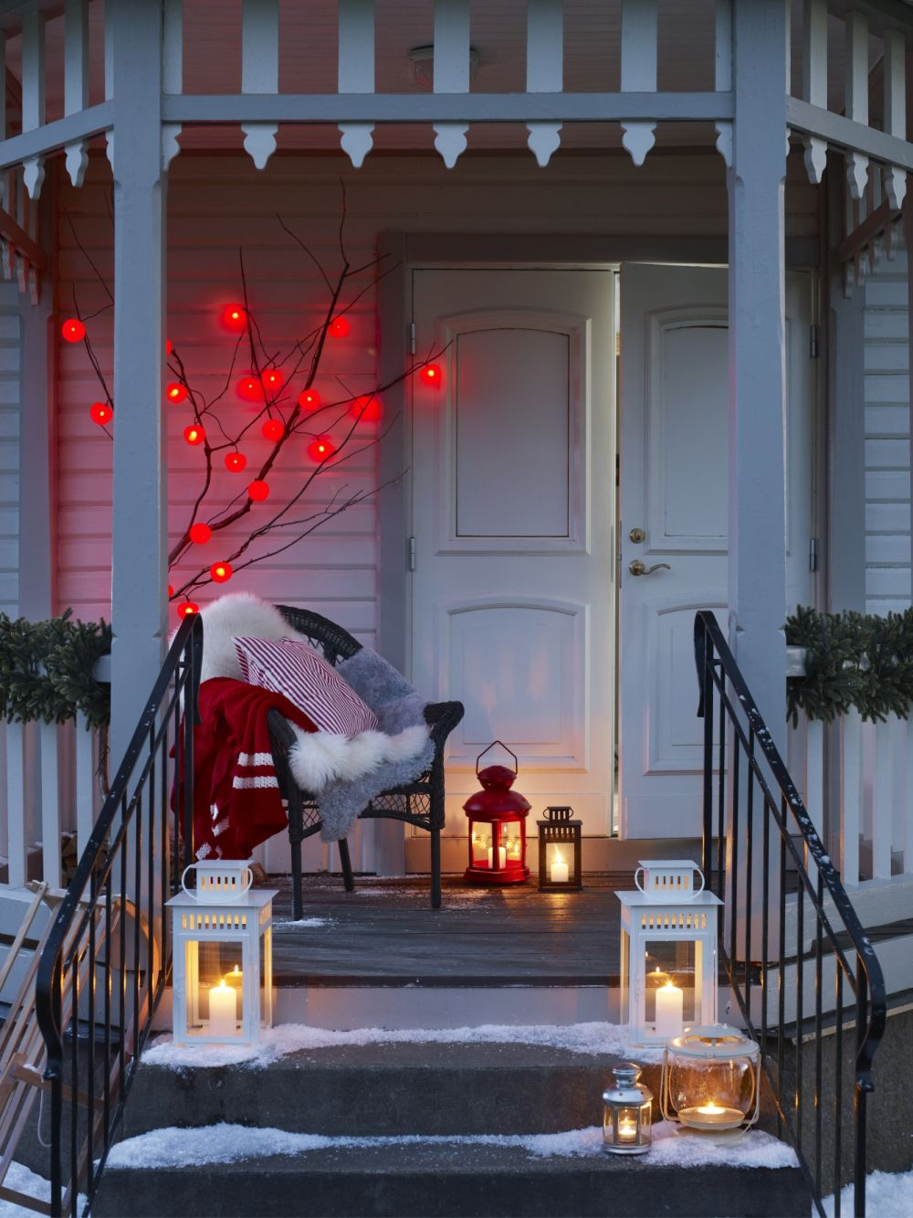 go the scandinavian route and fill your porch with lanterns for the season not only will they bring a lovely glow to your porch at christmas - Outside Porch Christmas Decorations