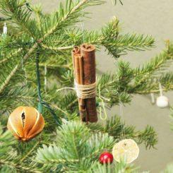 自创圣诞节装饰品 - 挂肉桂棒捆绑