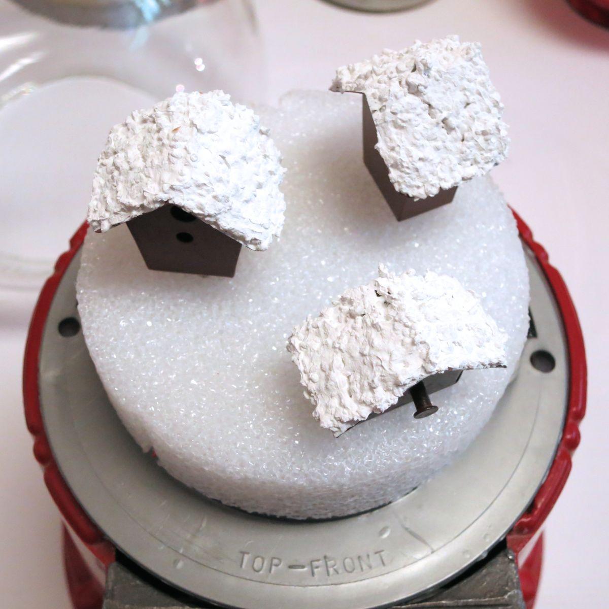 Make Gumball Machine Snow Globe Decor - add the tiny houses