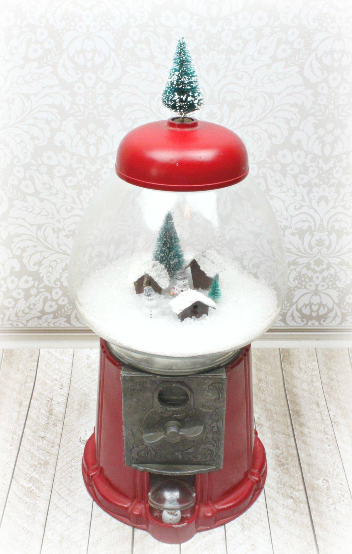 Make Gumball Machine Snow Globe Decor - snowy scene
