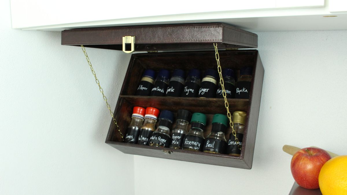 Handy Space-Saving Pull Down Spice Rack