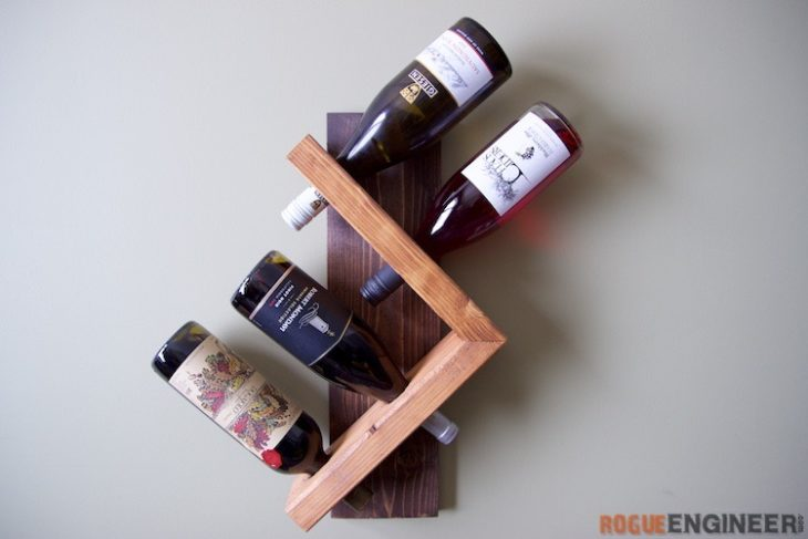 Geometric rack that holds bottles at an angle